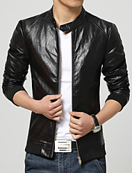 Men's Fashion Casual Thick Plus Velvet Slim Fit Keep Warm Leather Jacket