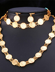 Vogue Vintage Queen Coin Necklace Earrings Bracelet for Women Fashion Jewelry 18K Real Gold Platinum Plated High Quality