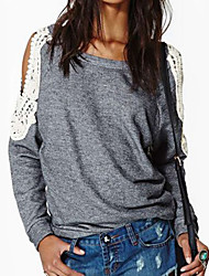 Unni Women's Lace / Solid Color Gray T-Shirts , Casual Round Long Sleeve