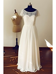 A-line Wedding Dress Floor-length Scoop Chiffon / Lace with Button / Lace / Sash / Ribbon