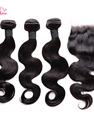 brésiliens vierges vague de corps de cheveux smilco de fermeture avec 3 faisceaux avec partie libre de fermeture 4 * 4 de dentelle
