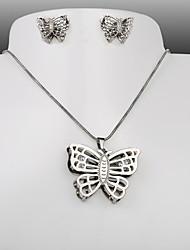 acero de titanio de la moda europea y americana de la mariposa de plata del collar pendientes de la CZ