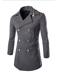 pear Men's Asymmetrical Coats & Jackets , Cotton Blend Long Sleeve Casual Button Winter