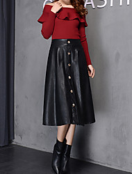 Women's Solid Color Black Skirts , Vintage / Party High Rise Midi