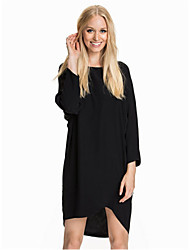 Women's Casual Solid A Line Dress , Round Neck Above Knee Polyester