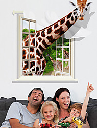3D Giraffe Through Window PVC Wall Sticker Wall Decals