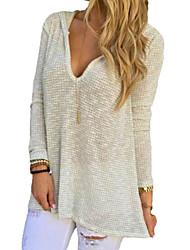 Women's Solid White Blouse , Deep V Long Sleeve