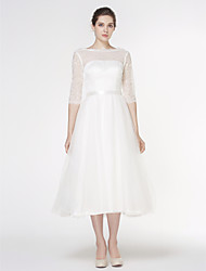 Lanting Bride® A-line Wedding Dress Tea-length Bateau Lace / Tulle with Lace
