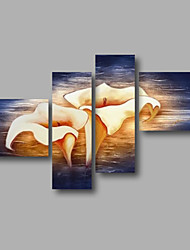"Ready to Hang Stretched Hand-painted Oil Painting 64""x44"" Canvas Wall Art Modern Beige Lily Flowers Dark Blue"