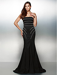 Formal Evening Dress Trumpet / Mermaid Strapless Sweep / Brush Train Jersey with Beading