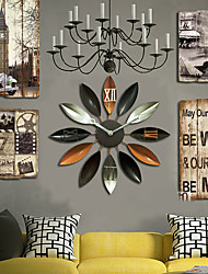 E-HOME®  Brown Flower Shape Metal Wall Clock One Pcs