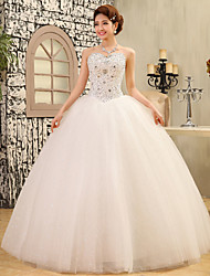 Ball Gown Wedding Dress Sparkle & Shine Floor-length Strapless Lace Satin Tulle with Crystal Sequin
