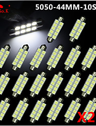 20X  White 44MM 5050 10SMD Festoon Dome Map Interior LED Light bulbs DE3423 6418 12V