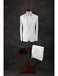 Suits Tailored Fit Notch Single Breasted Two-buttons Cotton Blend Patterns 2 Pieces Ivory