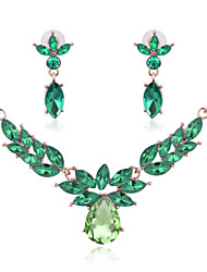 Jewelry Set Rhinestone Crystal Simulated Diamond Rose Green Blue Wedding Party 1set 1 Pair of Earrings Necklaces Wedding Gifts
