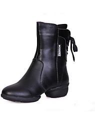 Non Customizable Women's Dance Shoes Dance Sneakers Leatherette Chunky Heel Black / Red