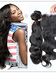 4Pcs/Lot Cheap 100% Brazilian Virgin Human Hair Weave Wavy Body Wave With Top Lace Closure Natural Color Hair Extensions