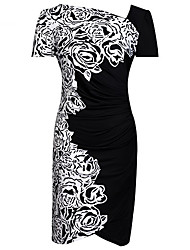 Women's White/Red Plus Size Dress, Short Sleeve Floral Print Gatered Design