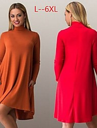 Women's Solid Color Red / Beige / Gray Plus size Dresses , Casual High-Neck Long Sleeve