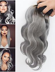 3bundles / porción extensiones de cabello ombre 1b enredo virginal del pelo de la armadura peruana humana pelo de color gris plata libre