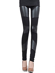 Women's Patchwork Black Skinny Pants , Casual / Day