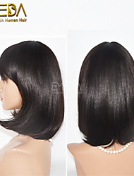 Hot Charming 12inch Medium Bob Hairstyle None Lace Wigs with Bangs Human Hair Wigs for Women 2 Colors Available
