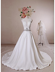 Ball Gown Wedding Dress - Ivory Chapel Train Jewel Lace / Satin / Tulle / Sequined