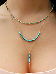 Turquoise Beaded tassels chain multi Necklace