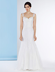 Lanting Bride® Trumpet / Mermaid Wedding Dress Sweep / Brush Train Sweetheart Lace with Button / Lace