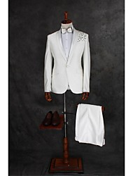 Suits Tailored Fit Peak Single Breasted One-button Cotton Blend Solid 2 Pieces Ivory