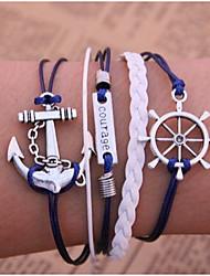 Herre Dame Par Kæde & Lænkearmbånd Wrap Armbånd Vintage Armbånd Læder Armbånd Inspirerende Flerlags Læder Legering Anker Blå Smykker For