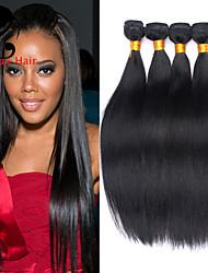4bundles cabelo humano cabelo reto 8-26inch cabelo malaio cor natural virgem tece