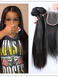 4Pcs/Lot Virgin Hair Straight 100% Brazilian Hair Weave Human Hair Extensions Straight Virgin Hair With Top Lace Closure