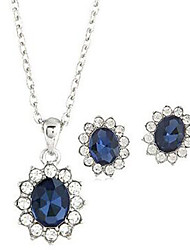 Fashion Blue Gem Alloy Earrings Necklace Set(1Set)