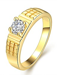 Fashion Simple Women's  Square White Zircon Gold-Plated Brass Statement Rings(Golden,Rose Gold,)(1Pcs)