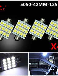 4 X  White 41MM 5050 12SMD Festoon Dome Map Interior LED Light bulbs DE3423 6418 12V