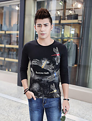 2015 new winter men's casual fashion slim long sleeved T-shirt China wind Dragonfly