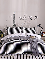 Stripe Poly/Cotton 4 Piece Duvet Cover Sets