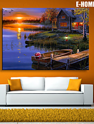 E-HOME® Stretched LED Canvas Print Art Lake Cottage Scenery LED Flashing Optical Fiber Print One Pcs
