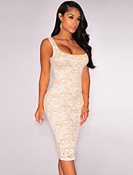 Women's  Floral Lace Nude Illusion Sleeveless Dress