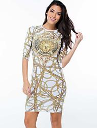 Women's  Trendy Gold Chain Print Dress