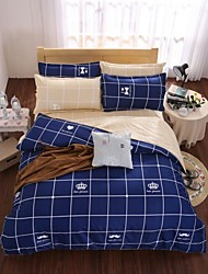 Plaid Poly/Cotton 4 Piece Duvet Cover Sets