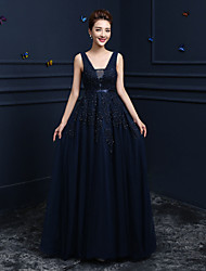 Formal Evening Dress Ball Gown V-neck Floor-length Lace / Tulle with Beading / Lace
