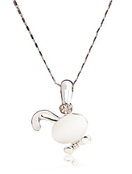 Hot Sale Cute Rabit for Beautiful Friend Crystal Plated Opal Pendent Necklace for Women/Girl