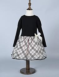 Girl's Black Dress,Check Spandex Winter / Fall