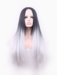 Europe Black And Grey Heat Resistant Hair Synthetic Wigs