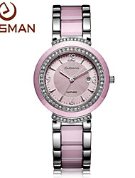 EASMAN® Watch Women Ceramic Top Brand Quartz Watch Luxury Calendar Crystal Fashion Pink Black Watch Ladies Wristwatch Cool Watches Unique Watches