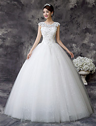 Ball Gown Wedding Dress Floor-length Jewel Lace / Satin / Tulle with Crystal / Sequin