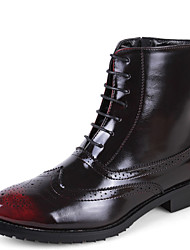 Men's Boots Fashion Outdoor Martin Cowhide Boots Black/Red
