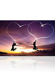 VISUAL STAR®Shape of My Heat Inkjet Canvas Printing Natural Sunset Romantic Two Lovers Dancing Painting On Canvas